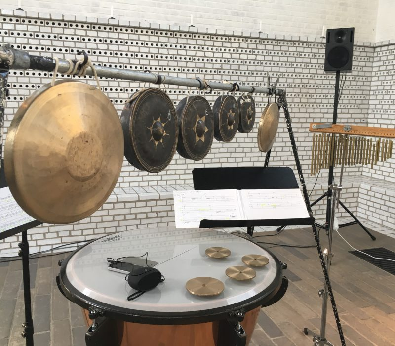 Photo of percussion setup.